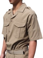 ウェア 消防盛夏服(カーキ)開衿半袖上衣
