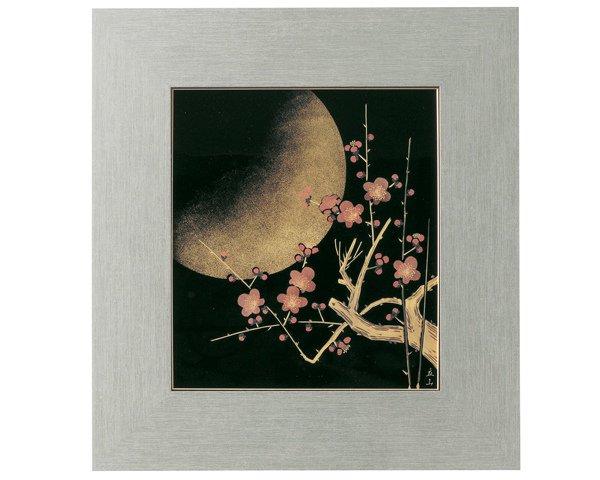 漆器贈答品に沈金梅月 パネル 日本製 送料無料/工芸品/通販/漆器/