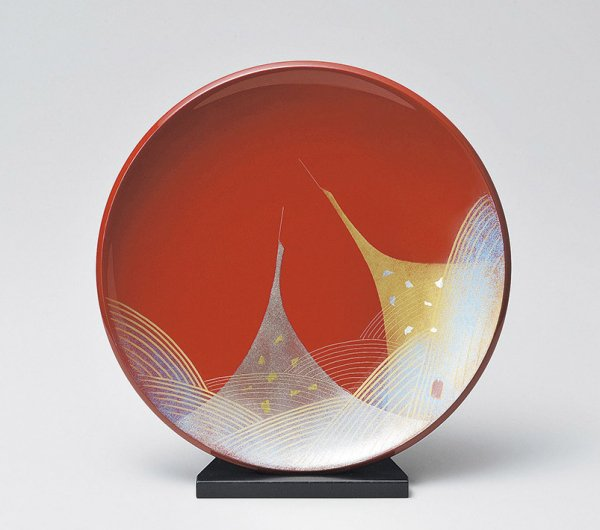 漆器贈答品に飾り皿 朱塗りに二羽鶴は最適です。 /工芸品/通販/漆器/
