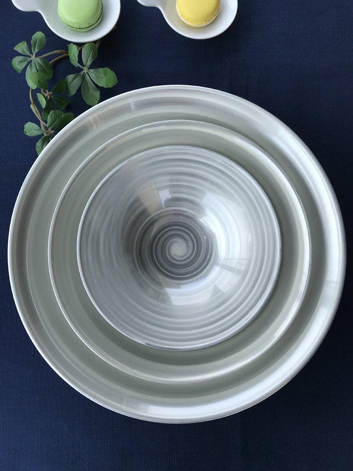 銀の波フリーボウル ホワイト トリオセット(化粧箱入り) 写真その1