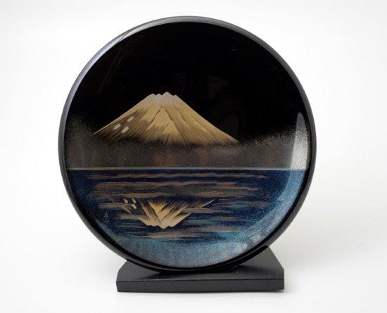 漆器贈答品に飾り皿 鏡富士の柄は最適です 世界文化遺産登録 日本製 送料無料/工芸品/通販/漆器/