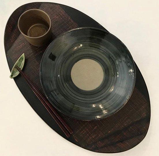 布を両面に貼り手に取りやすい形の木の葉膳布張り 日本製 送料無料 写真その2