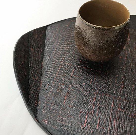 布を両面に貼り手に取りやすい形の木の葉膳布張り 日本製 送料無料 写真その3
