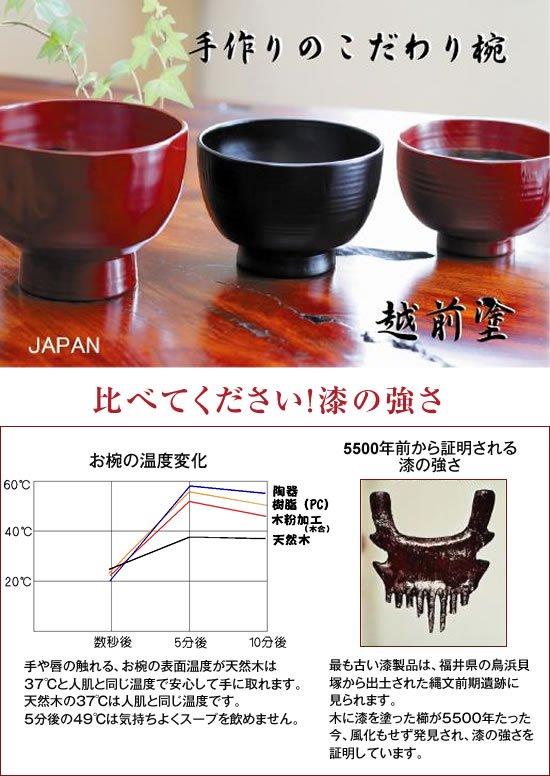 石の粉を下地に 羽反り汁椀 溜は大変丈夫 日本製 送料無料 写真その3