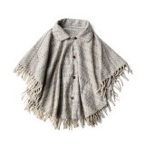 USED JACQUARD WOOL PONCHO