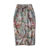 OLD LINEN FLOWER PRINTED TIGHT SKIRT