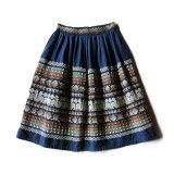 VINTAGE GUATEMALA EMBROIDERY SKIRT NAVY