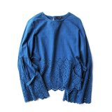 USED INDIGO BATTEN LACE BLOUSE