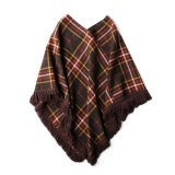 USED WOOL CHECK PONCHO #2
