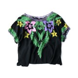 80s VTG PAINTED LACE TUNIC BLOUSE