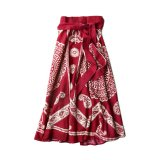 70s DEAD STOCK INDIAN COTTON WRAP SKIRT RED