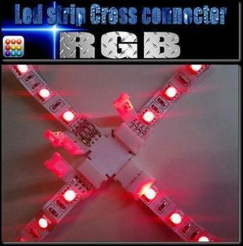 はんだ不要コネクター!RGB LEDテープ5050用「X型コネクタ」