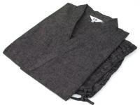 紬(つむぎ)織り 作務衣 茶灰縞 男性用 サイズ:M/L/LL