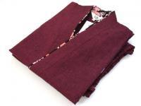 女性用 紬織り作務衣(さむえ) 紫 綿100% サイズ:M/L