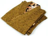 女性用 紬織り作務衣(さむえ) からし色 綿100% サイズ:M/L