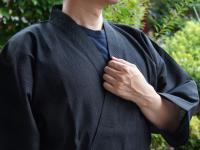 纏(まとい)織り作務衣 黒系 男性用