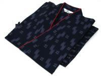 激安 作務衣(さむえ)井絣(いがすり)の柄 紺 綿100% 女性用