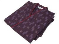 激安 作務衣(さむえ)井絣(いがすり)の柄 紫 綿100% 女性用