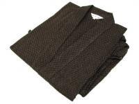 駿河絣(するががすり)作務衣 茶系 綿100%
