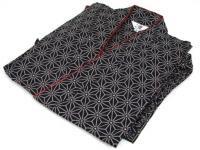 激安 作務衣(さむえ)麻の葉柄 紺 綿100% 女性用