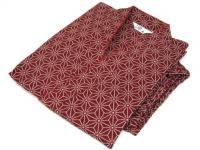 激安 作務衣(さむえ)麻の葉柄 赤 綿100% 女性用