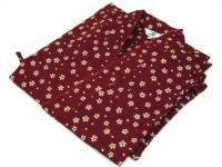 激安 作務衣(さむえ)桜の花柄 赤 綿100% 女性用 M〜LL