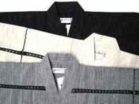 涼感 甚平 細川絣(黒・白・グレー) 綿100%