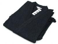 駿河絣(するががすり)作務衣 黒/グレー 綿100%