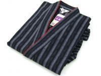 女性用 紬縞(つむぎしま) 作務衣 濃紺