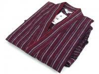 女性用 紬縞(つむぎしま) 作務衣 紫