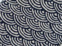 バンダナキャップ 和風青波柄 濃紺 綿100% 日本製
