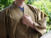 作務衣(さむえ)久留米織 カラシ 綿100% 男性用