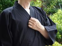 作務衣(さむえ)久留米織 黒 綿100% 男性用