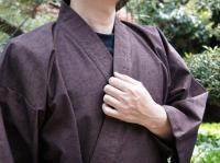 作務衣(さむえ)久留米織 茶色 綿100% 男性用