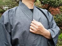 作務衣(さむえ)久留米織 グレー 綿100% 男性用