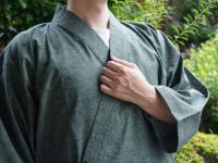 作務衣(さむえ)久留米織 緑(グリーン) 綿100% 男性用
