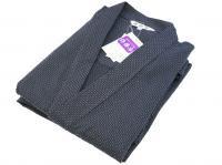 刺し子風 作務衣(さむえ)グレー 綿100%