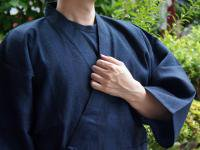 纏(まとい)織り作務衣 紺系 男性用