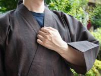 纏(まとい)織り作務衣 茶色系 男性用
