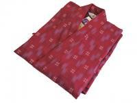 激安 作務衣(さむえ)井絣(いがすり)の柄 エンジ 綿100% 女性用