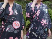 浴衣柄の作務衣(金魚柄/トンボ柄) 綿100% 女性用