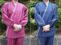 女性用 縞柄 作務衣