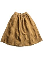 【unifil women's】JAQUARD DENIM GATHERED SKIRT (KAHKI)