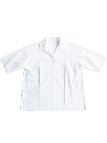 【AURALEE women's】SELVAGE WEATHER CLOTH OPEN COLLARED HALF SLEEVED SHIRTS (WHITE)_main