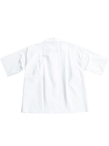 【AURALEE women's】SELVAGE WEATHER CLOTH OPEN COLLARED HALF SLEEVED SHIRTS (WHITE)_3