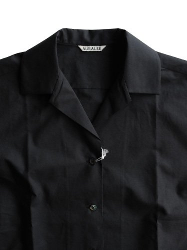 【AURALEE women's】SELVAGE WEATHER CLOTH OPEN COLLARED HALF SLEEVED SHIRTS (INK BLACK)_1