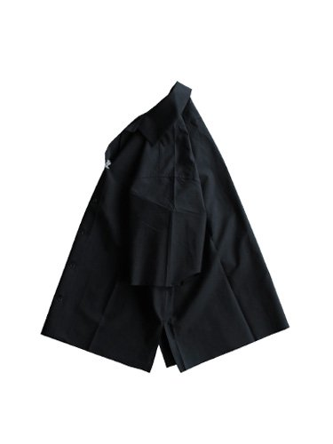 【AURALEE women's】SELVAGE WEATHER CLOTH OPEN COLLARED HALF SLEEVED SHIRTS (INK BLACK)_2