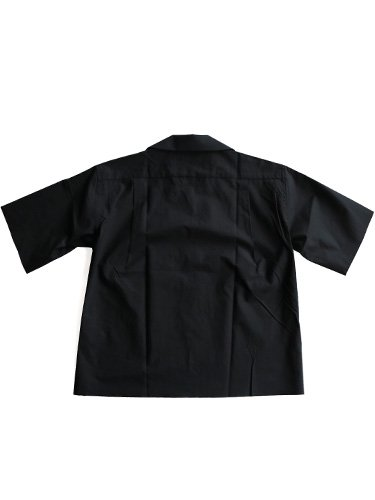 【AURALEE women's】SELVAGE WEATHER CLOTH OPEN COLLARED HALF SLEEVED SHIRTS (INK BLACK)_3