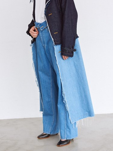【Graphpaper women's】TURNOVER WAISTED DENIM PANTS BL (BLEACH)_3
