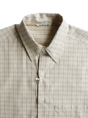 【AURALEE men's】WASHED FINX TWILL BIG SHIRTS (TATTERSALL CHECK)_1